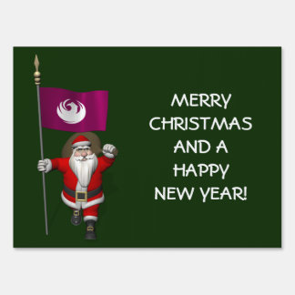 Santa Claus With Ensign Of Phoenix Yard Sign