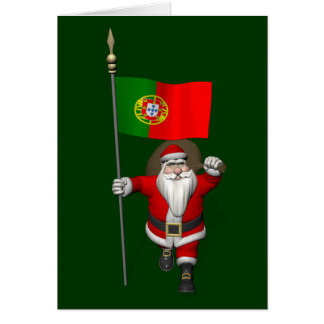 Santa Claus With Ensign Of Portugal Card