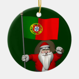 Santa Claus With Ensign Of Portugal Ceramic Ornament