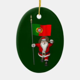 Santa Claus With Ensign Of Portugal Ceramic Ornament