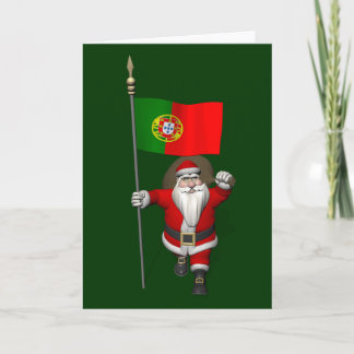 Santa Claus With Ensign Of Portugal Holiday Card
