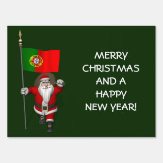 Santa Claus With Ensign Of Portugal Lawn Sign