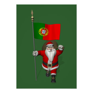 Santa Claus With Ensign Of Portugal Poster