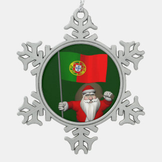 Santa Claus With Ensign Of Portugal Snowflake Pewter Christmas Ornament