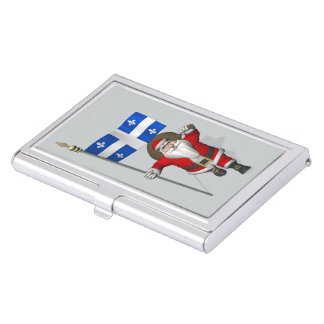 Santa Claus With Ensign Of Québec Case For Business Cards
