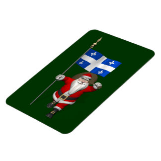 Santa Claus With Ensign Of Québec CDN Magnet