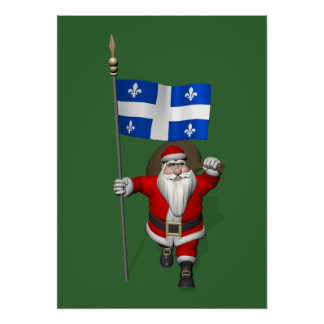 Santa Claus With Ensign Of Québec CDN Poster
