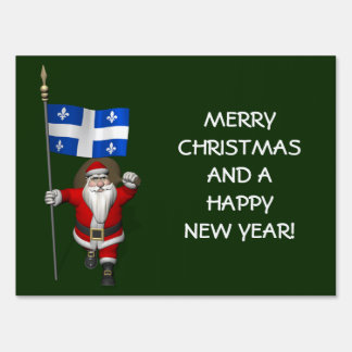Santa Claus With Ensign Of Québec Lawn Sign
