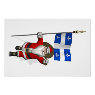 Santa Claus With Ensign Of Québec Poster
