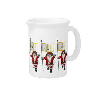Santa Claus With Ensign Of Rhode Island Drink Pitcher