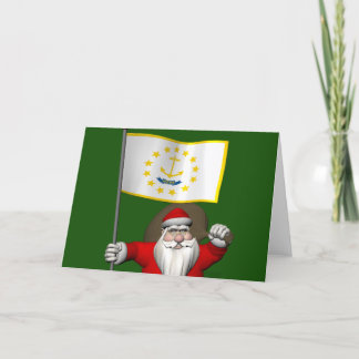 Santa Claus With Ensign Of Rhode Island Holiday Card