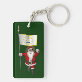 Santa Claus With Ensign Of Rhode Island Keychain