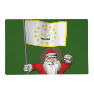 Santa Claus With Ensign Of Rhode Island Laminated Placemat