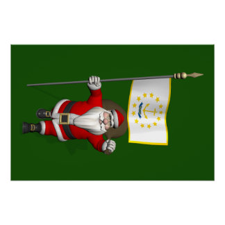 Santa Claus With Ensign Of Rhode Island Poster