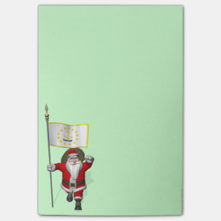 Santa Claus With Ensign Of Rhode Island Post-it® Notes