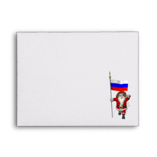 Santa Claus With Ensign Of Russia Envelope