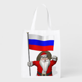 Santa Claus With Ensign Of Russia Grocery Bags