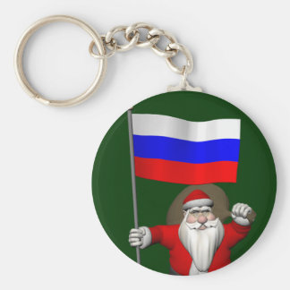 Santa Claus With Ensign Of Russia Keychain