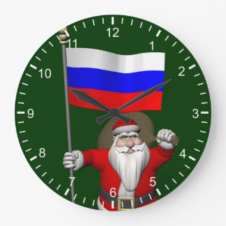 Santa Claus With Ensign Of Russia Large Clock
