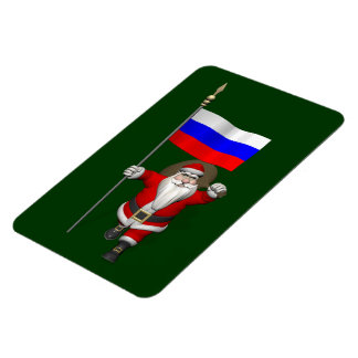 Santa Claus With Ensign Of Russia Magnet