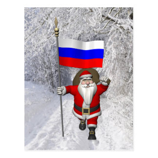 Santa Claus With Ensign Of Russia Postcard