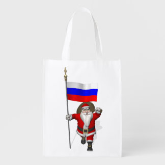 Santa Claus With Ensign Of Russia Reusable Grocery Bag