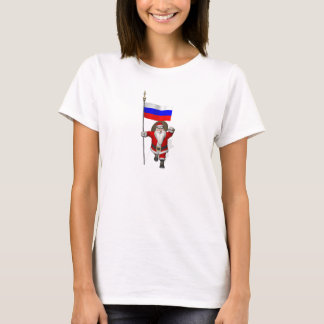 Santa Claus With Ensign Of Russia T-Shirt