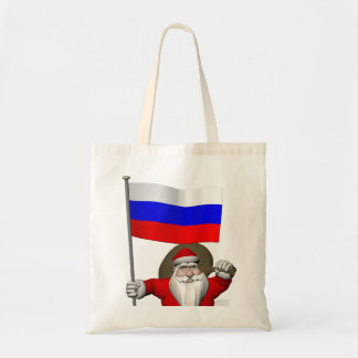 Santa Claus With Ensign Of Russia Tote Bag