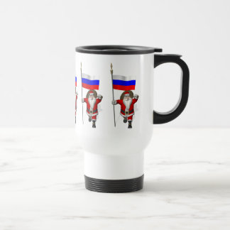 Santa Claus With Ensign Of Russia Travel Mug