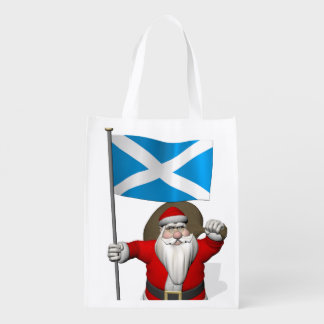 Santa Claus With Ensign Of Scotland Grocery Bags