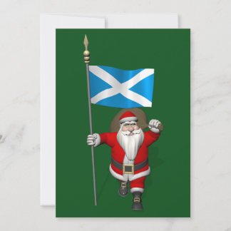 Santa Claus With Ensign Of Scotland Holiday Card