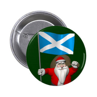 Santa Claus With Ensign Of Scotland Pinback Button