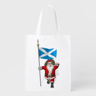 Santa Claus With Ensign Of Scotland Reusable Grocery Bag