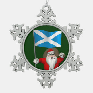 Santa Claus With Ensign Of Scotland Snowflake Pewter Christmas Ornament