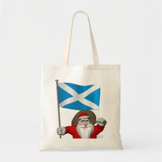 Santa Claus With Ensign Of Scotland Tote Bag