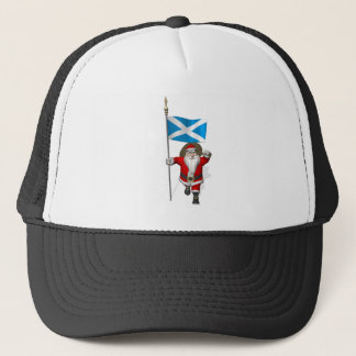 Santa Claus With Ensign Of Scotland Trucker Hat