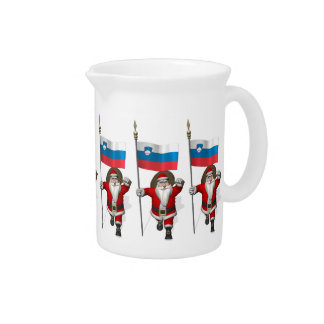 Santa Claus With Ensign Of Slovenia Pitcher
