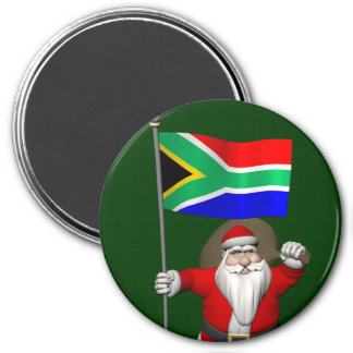 Santa Claus With Ensign Of South Africa 3 Inch Round Magnet