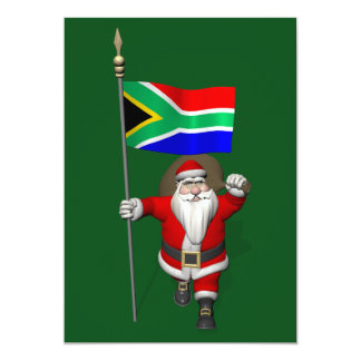 Santa Claus With Ensign Of South Africa 5x7 Paper Invitation Card