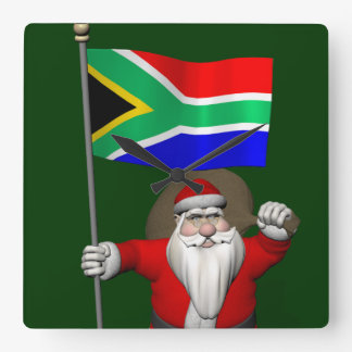 Santa Claus With Ensign Of South Africa Square Wall Clocks