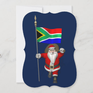 Santa Claus With Ensign Of South Africa Holiday Card