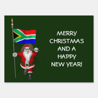 Santa Claus With Ensign Of South Africa Lawn Sign