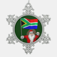 Santa Claus With Ensign Of South Africa Snowflake Pewter Christmas Ornament at Zazzle
