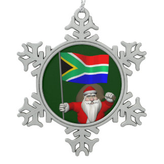 Santa Claus With Ensign Of South Africa Snowflake Pewter Christmas Ornament