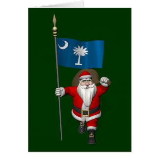 Santa Claus With Ensign Of South Carolina