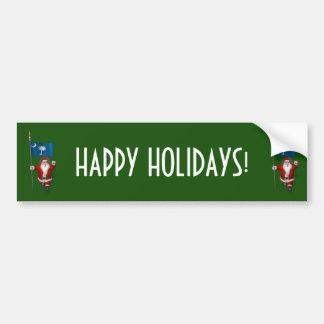 Santa Claus With Ensign Of South Carolina Bumper Sticker