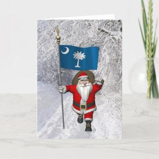 Santa Claus With Ensign Of South Carolina Holiday Card