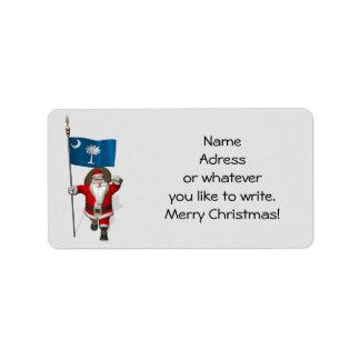 Santa Claus With Ensign Of South Carolina Label
