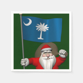 Santa Claus With Ensign Of South Carolina Paper Napkin