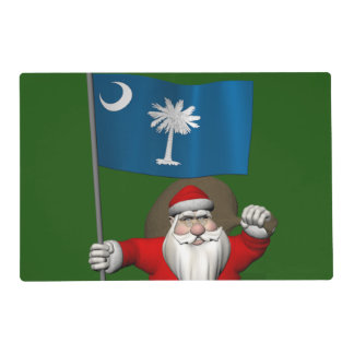 Santa Claus With Ensign Of South Carolina Placemat
